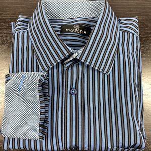 Bugatchi Uomo xl blue stripes flip cuff button up